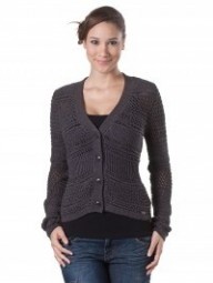 TOM TAILOR DAMEN STRICKJACKE NEW AJOUR MIX CARDIGAN BRAUN